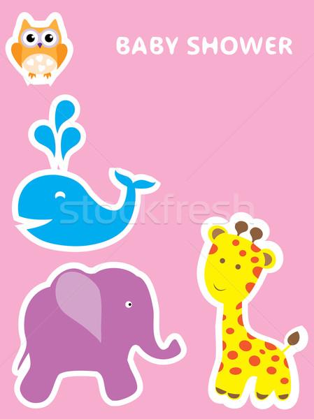 Baby douche kaart vector dieren ontwerp Stockfoto © lilac
