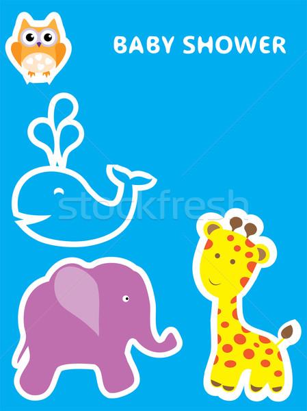 Bebê chuveiro vetor cartão animais menina Foto stock © lilac