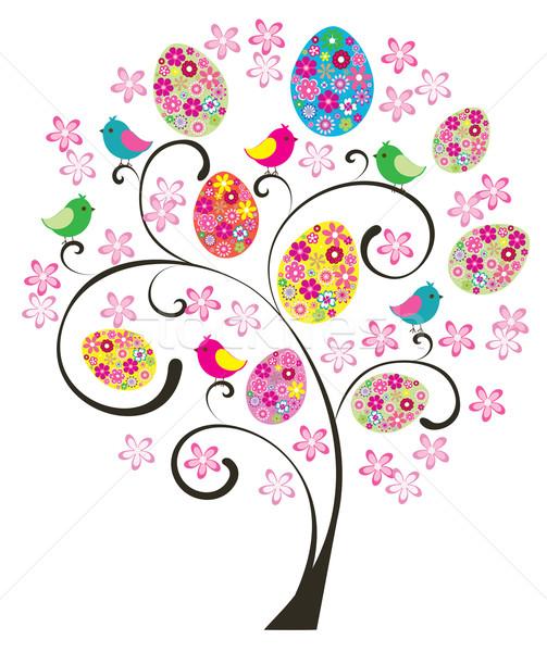 Páscoa árvore vetor floral ovos aves Foto stock © lilac