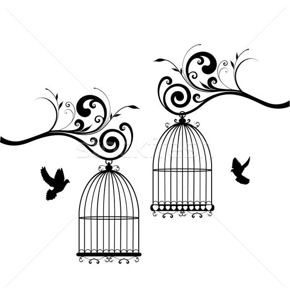 Vogel vector vintage huis ontwerp home Stockfoto © lilac