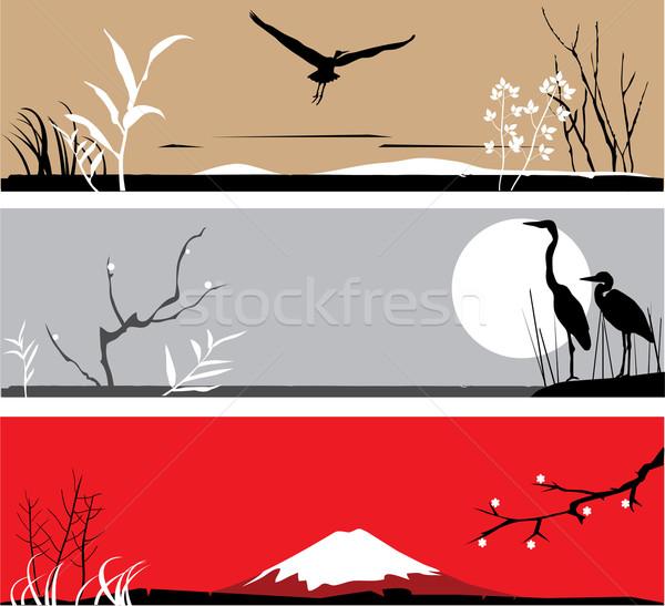Garça-real vetor banners asiático primavera natureza Foto stock © lilac