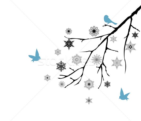 Kar şube ağaç kış siluet model Stok fotoğraf © lilac