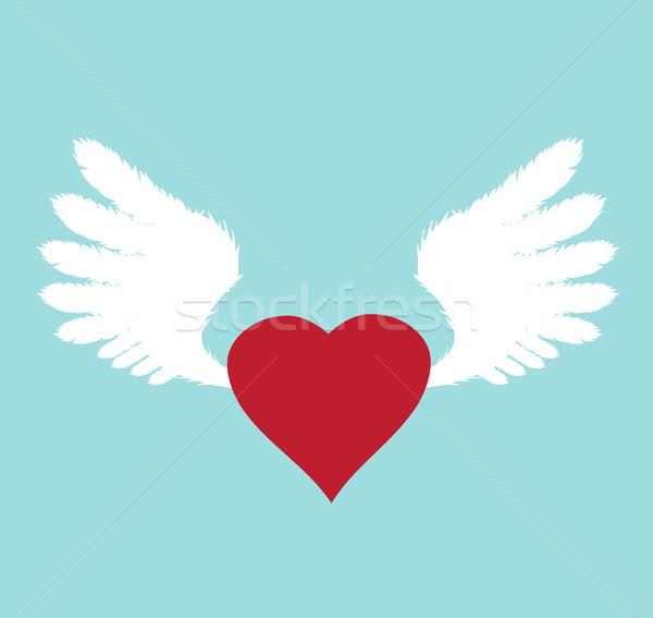 Сток-фото: вектора · крыльями · сердце · белый · красный · фон