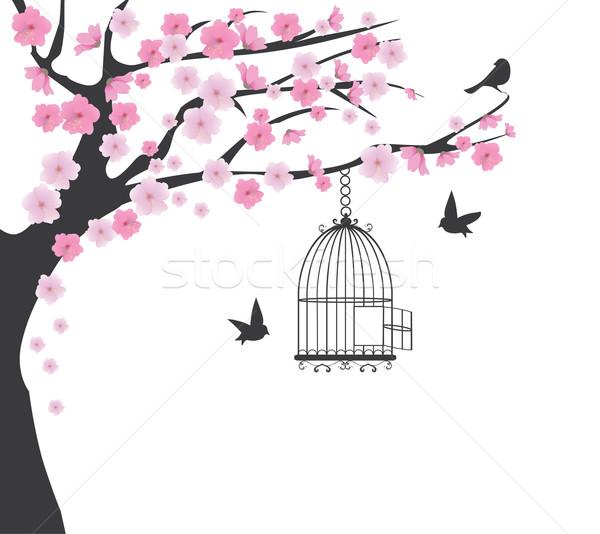 桜 ツリー 鳥 花 春 ストックフォト © lilac