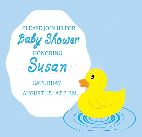 Bebek duş kart kauçuk ördek dizayn Stok fotoğraf © lilac