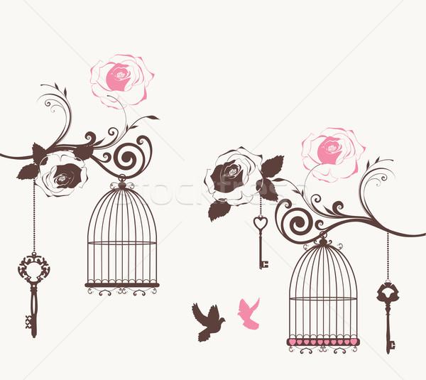 Foto stock: Vintage · cartão · vetor · flores · primavera