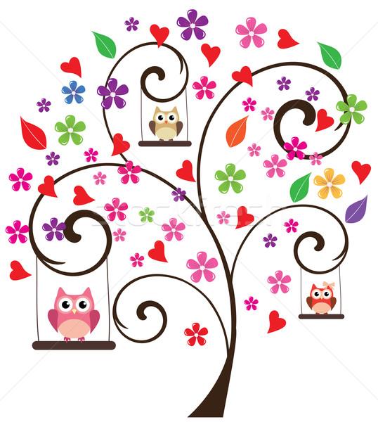 Baykuşlar ağaç çiçek arka plan komik hayvan Stok fotoğraf © lilac
