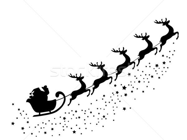 Noel baba uçan geyik gökyüzü ağaç manzara Stok fotoğraf © lilac