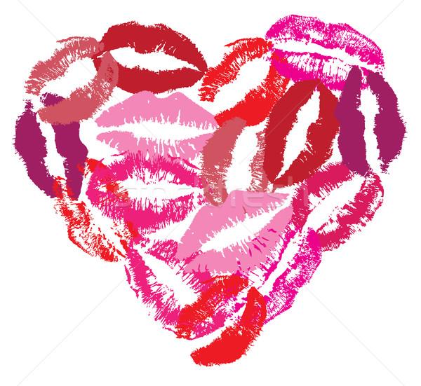 Vecteur rouge à lèvres coeur amour mode fond Photo stock © lilac