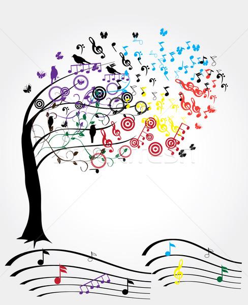 Música árvore vetor notas musicais dançar abstrato Foto stock © lilac