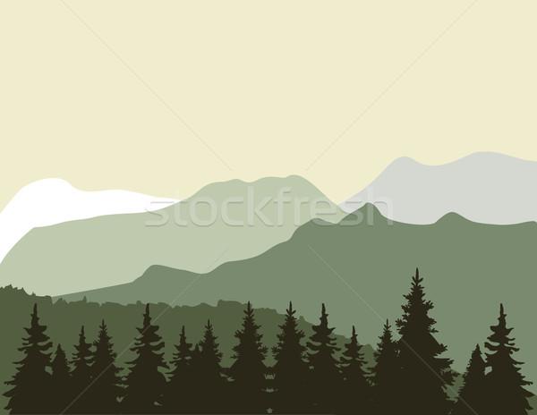 Vetor montanha árvore céu madeira floresta Foto stock © lilac