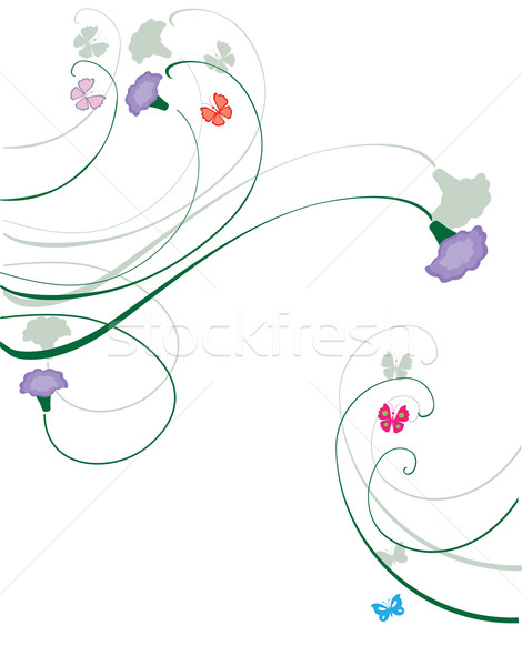 Photo stock: Floral · tourbillons · carte · nature · design · feuille