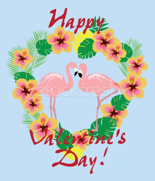 Vetor valentine tropical flores folhas Foto stock © lilac