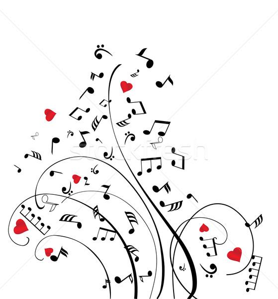 Müzik notaları kalpler bilgisayar soyut dizayn sanat Stok fotoğraf © lilac