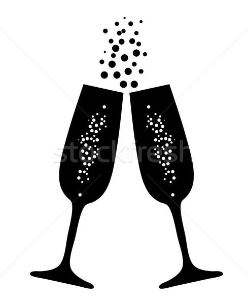 vector champagne glasses Stock photo © lilac