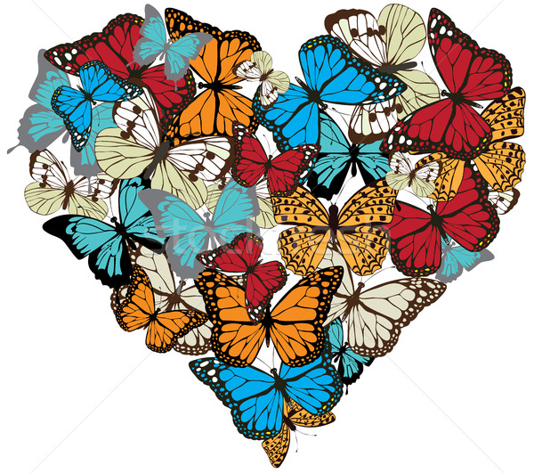 vector vintage butterfly heart Stock photo © lilac