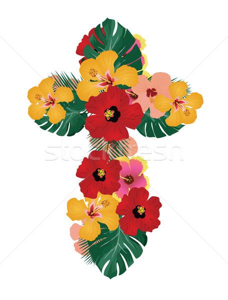 Vetor floral atravessar tropical flores folhas de palmeira Foto stock © lilac