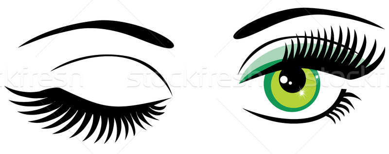 Yeux vecteur yeux verts longtemps composent Photo stock © lilac