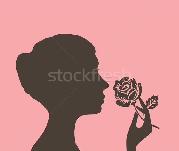 Kız çiçek siluet gül kadın model Stok fotoğraf © lilac