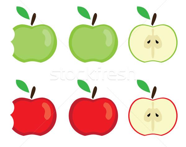 Vektör elma ayarlamak kırmızı yeşil gıda Stok fotoğraf © lilac
