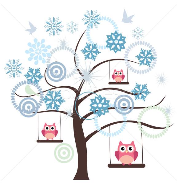 Inverno árvore vetor flocos de neve rosa corujas Foto stock © lilac