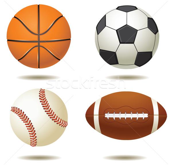 Sport silhouetten geïsoleerd kunst baseball Stockfoto © lilac