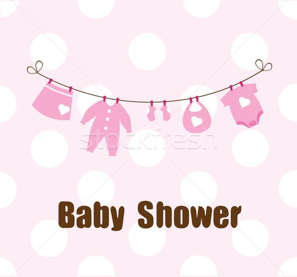 Bebek duş kart elbise kız dizayn Stok fotoğraf © lilac