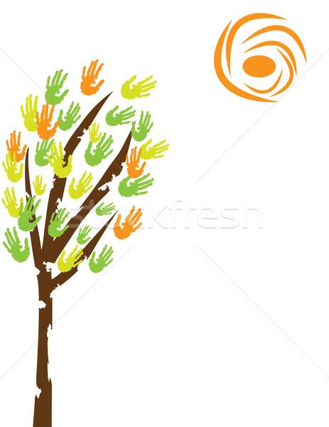Сток-фото: дерево · стороны · вектора · ребенка · краской · искусства