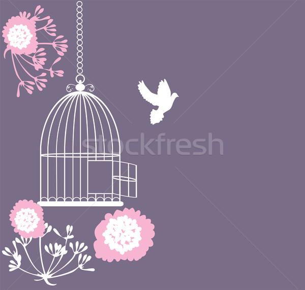 ヴィンテージ カード ケージ オープン 花 ストックフォト © lilac