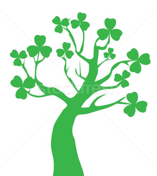 Shamrock árvore vetor trevo fundo verde Foto stock © lilac