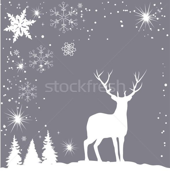 Noel vektör ren geyiği soyut doğa kış Stok fotoğraf © lilac