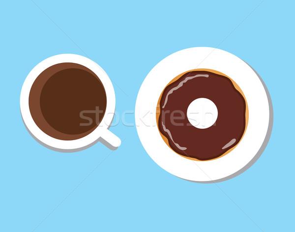 Vektör kahve tatlı çörek kahve fincanı kahve molası kahvaltı Stok fotoğraf © lilac