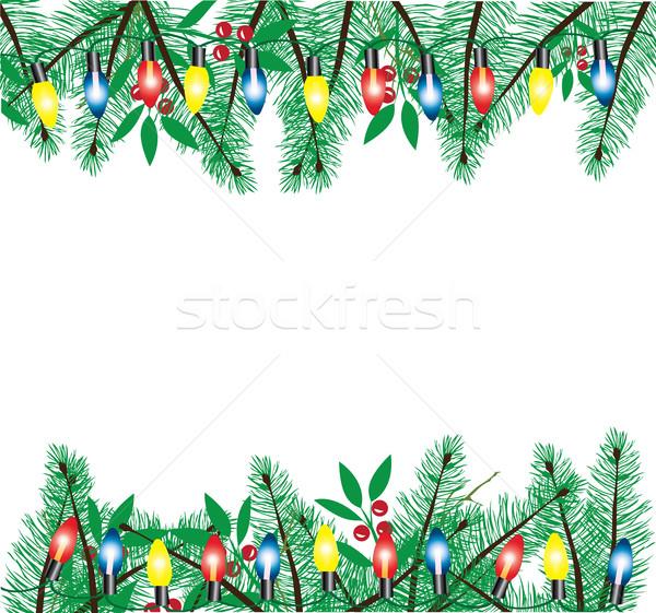 Vektör Noel ışıklar tatil ışık ampul Stok fotoğraf © lilac
