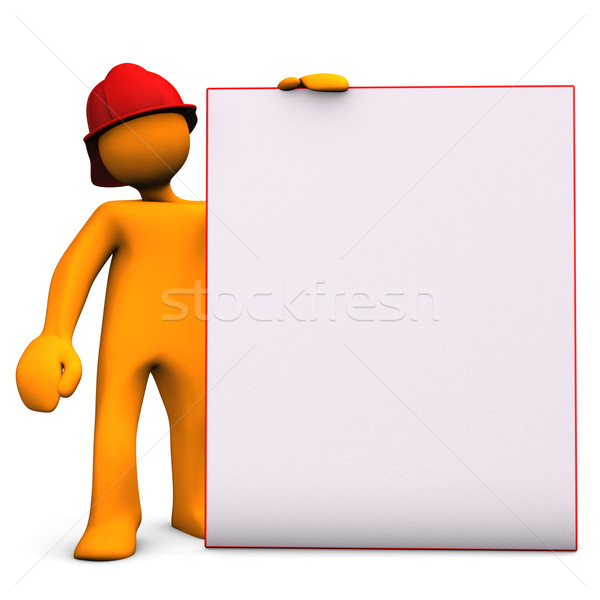 Fireman With Noticeboard Stock photo © limbi007