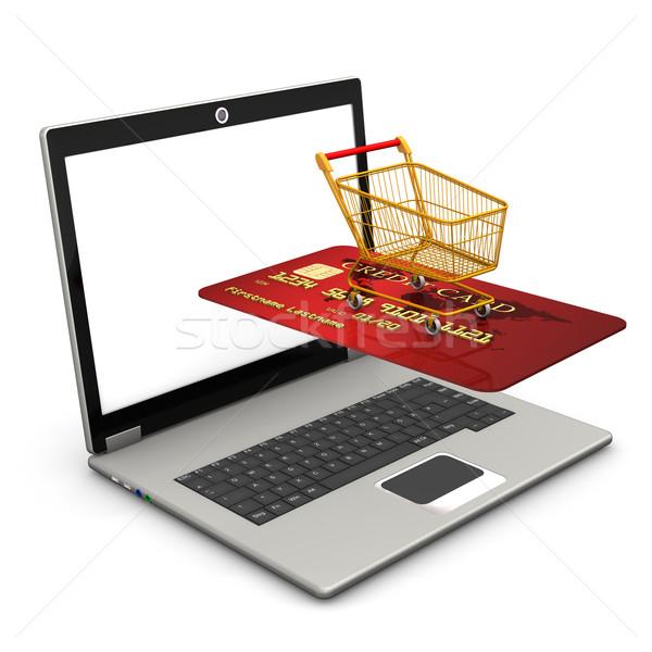 Laptop mobil vásárlás piros hitelkártya szállít Stock fotó © limbi007
