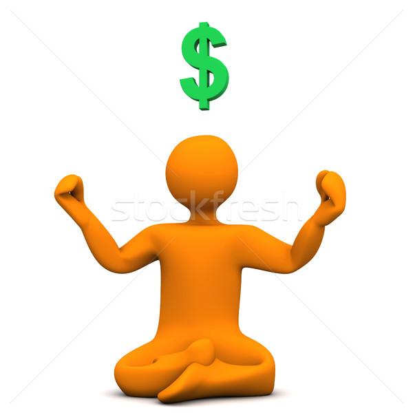 Jóga dollár narancs rajzfilmfigura pozició szimbólum Stock fotó © limbi007