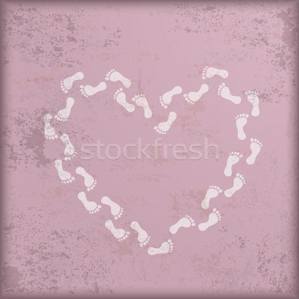 Vintage rosa blanco huellas corazón diseno Foto stock © limbi007