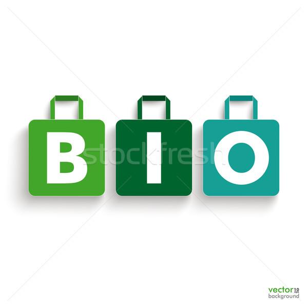 Papier panier bio texte Photo stock © limbi007