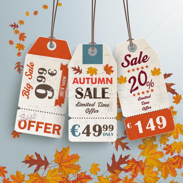 3 Vintage Price Sticker Silver Background Autumn Sale Stock photo © limbi007