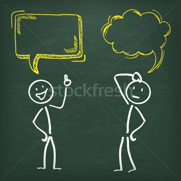 Blackboard Stickman 2 Speech Bubbles Stock photo © limbi007