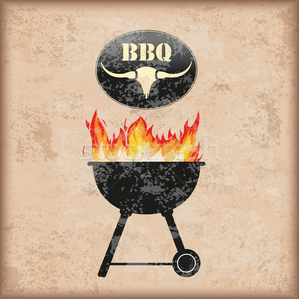 Bogrács barbecue klasszikus tűz eps 10 Stock fotó © limbi007