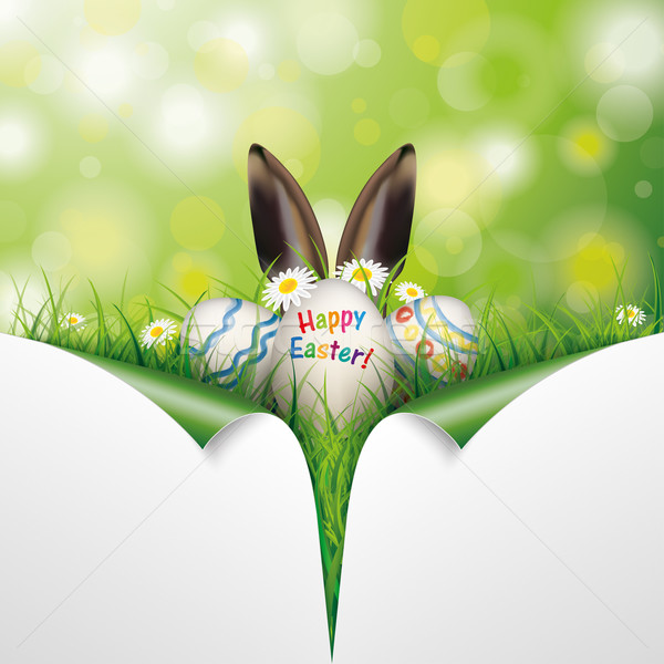 Easter Eggs 2 Scrolled Corners Frohe Ostern Stock photo © limbi007