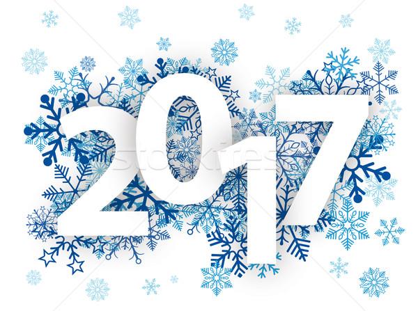 2017 Blue Snowflakes Stock photo © limbi007