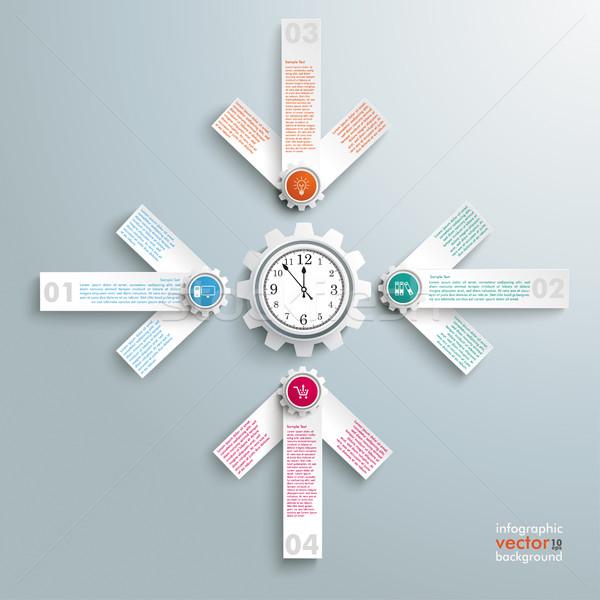 4 White Arrows Cross Gear Clock Centre Stock photo © limbi007
