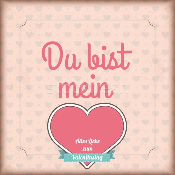 Vintage Cover Du bist Mein Heart Valentinstag Ribbon Stock photo © limbi007