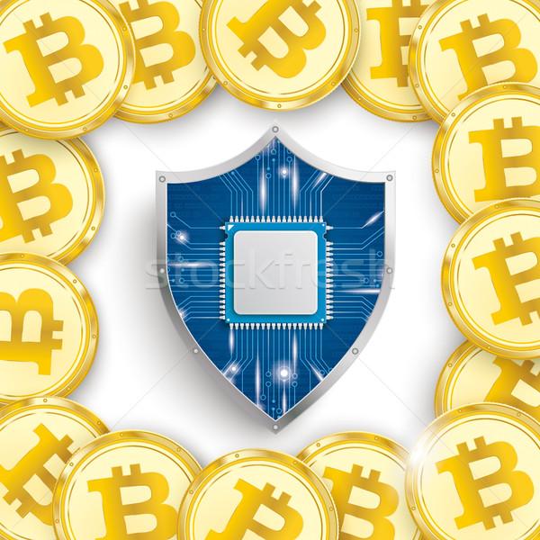 Golden Bitcoins Cover White Centre Protection Shield Stock photo © limbi007