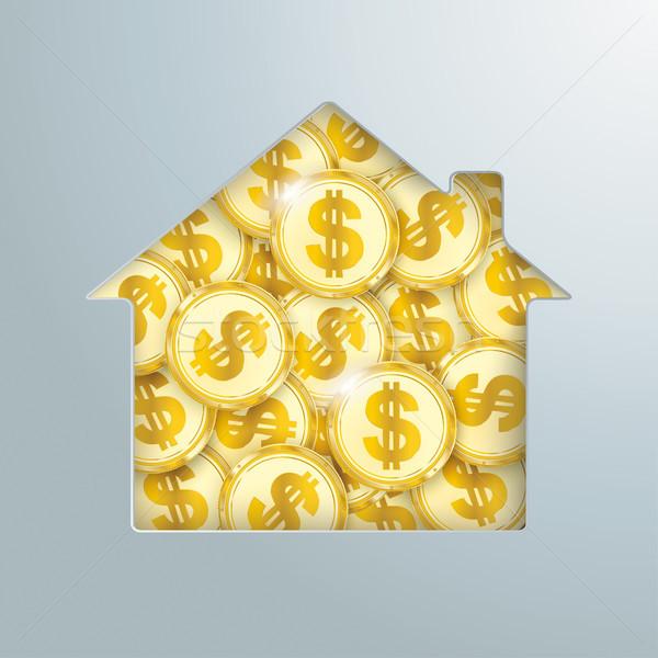 House Hole Golden Dollar Coins  Stock photo © limbi007
