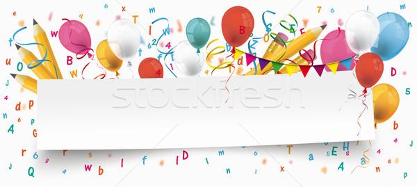 бумаги баннер шаров письма карандашей белый Сток-фото © limbi007