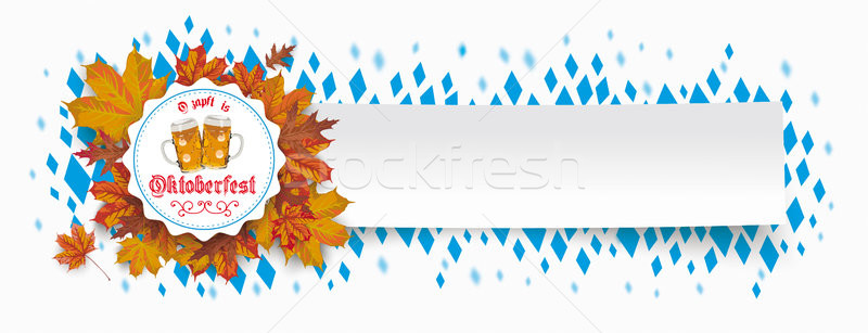Paper Banner Oktoberfest Emblem Foliage Beer Glasses Stock photo © limbi007