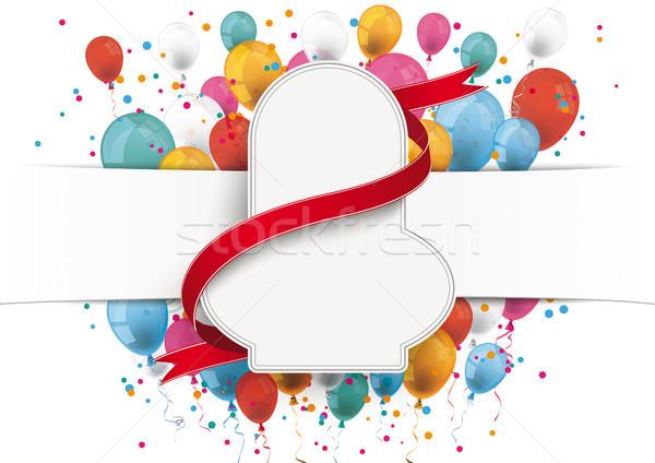 Fehér papír szalag embléma vörös szalag léggömbök Stock fotó © limbi007